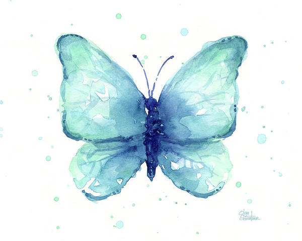 Butterfly Painting - Blue Butterfly Watercolor by Olga Shvartsur