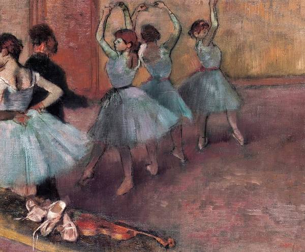 Posture Painting - Blue Dancers by Edgar Degas