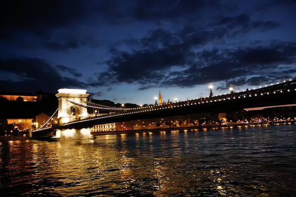 Blue Danube Sunset Budapest Art Print