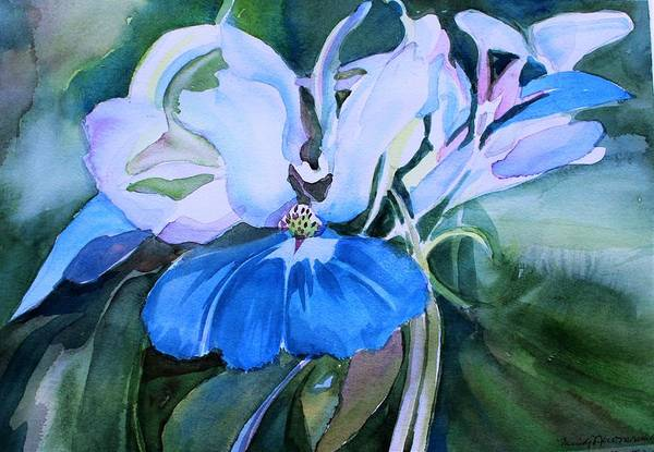 Wall Art - Painting - Blue Eyed Mary by Mindy Newman
