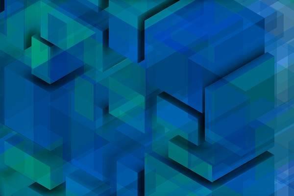 Digital Art - Blue Geometric Composition 1 by Alberto RuiZ