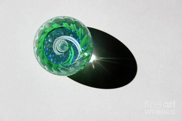 Photograph - Blue Green Glass Swirl by Karen Adams