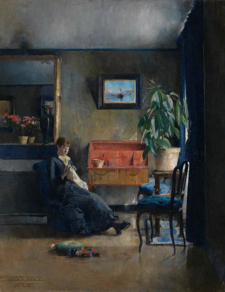 Painting - Blue Interior by Harriet Backer