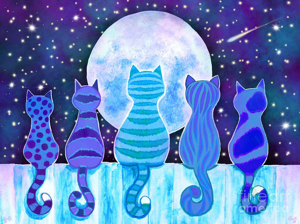 Full Moon Painting - Blue Moon Cats by Nick Gustafson