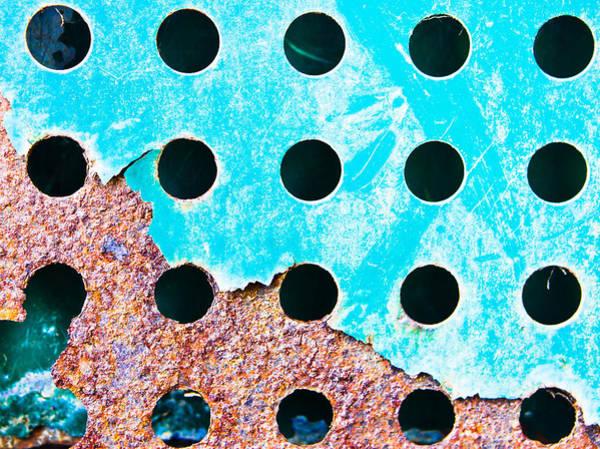 Aluminum Wall Art - Photograph - Blue Rusty Metal by Tom Gowanlock