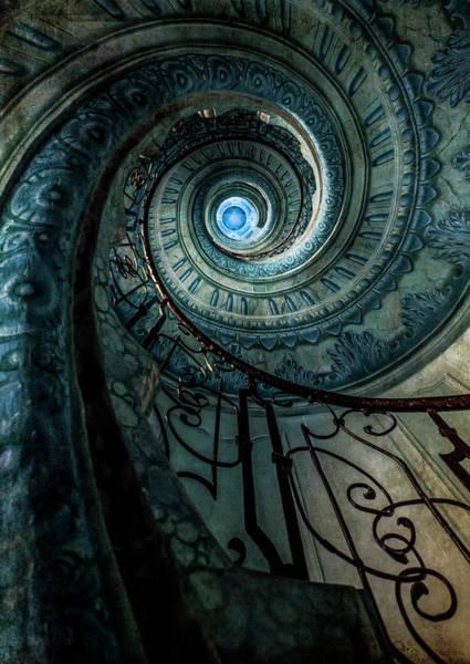 Photograph - Blue Spiral Staircase by Jaroslaw Blaminsky