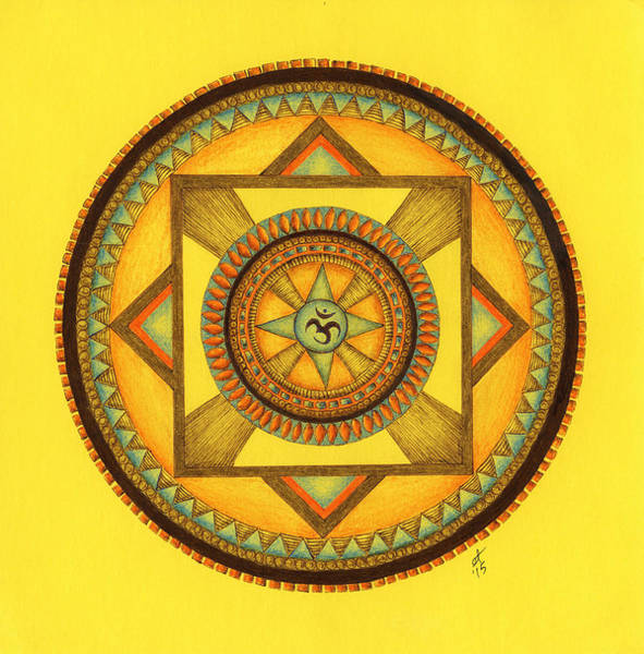 Sacred Geometry Drawing - Blue Star Om by Elaine Tschuor