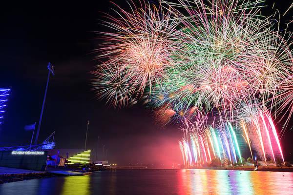 Okc Photograph - Boathouse Fireworks by Ricky Barnard