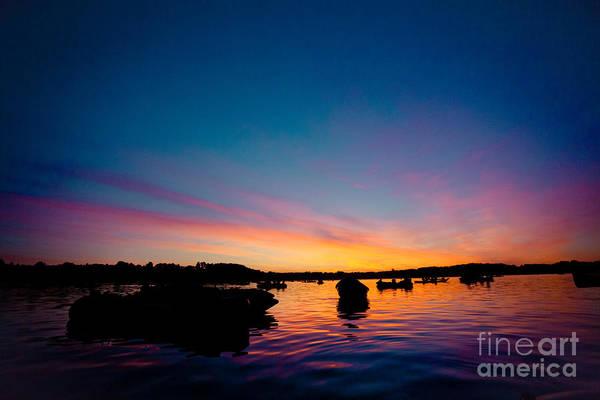Photograph - Boats And Sunrise Above Lake Water Summer Time Latvia Ezera Skanas by Raimond Klavins