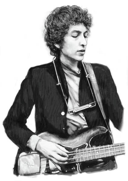 Wall Art - Drawing - Bob Dylan Drawing Art Poster by Kim Wang