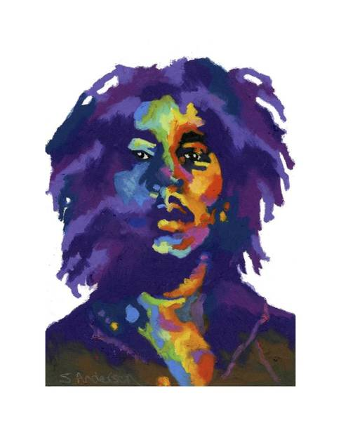 Reggae Painting - Bob Marley-for T-shirt by Stephen Anderson