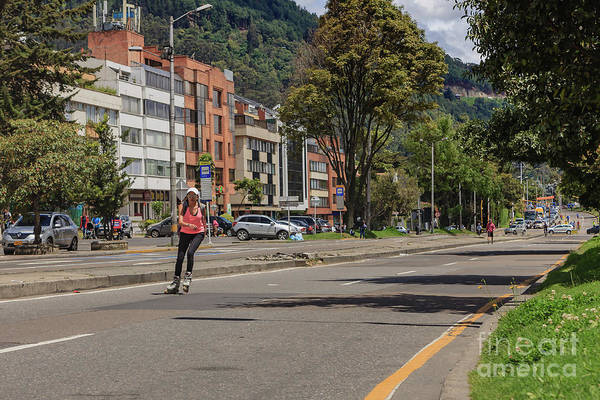 Roller Blades Photograph - Bogota, Colombia - The Weekly, Sunday Morning Ciclovia by Devasahayam Chandra Dhas