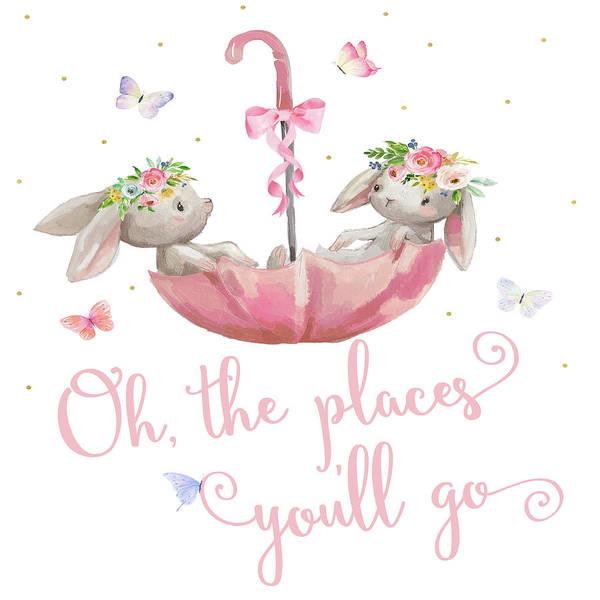 Oh Wall Art - Digital Art - Boho Bunny Rabbits Bunnies Umbrella Watercolor Nursery Wall Art Print Pillow by Pink Forest Cafe