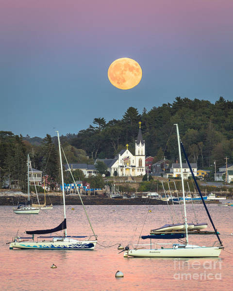 Lobstering Photograph - Boothbay Harbor Supermoon by Benjamin Williamson