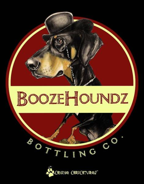 Doberman Wall Art - Drawing - Boozehoundz Bottling Co. by John LaFree