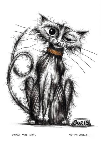 Skinny Drawing - Boris The Cat by Keith Mills