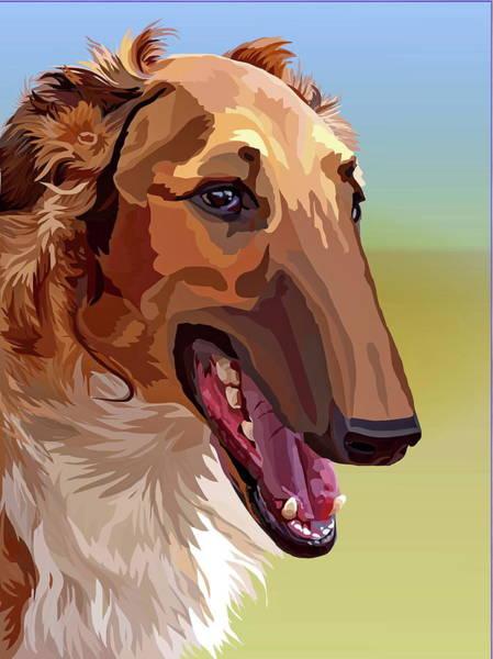Sighthound Mixed Media - Borzoi by Alexey Bazhan