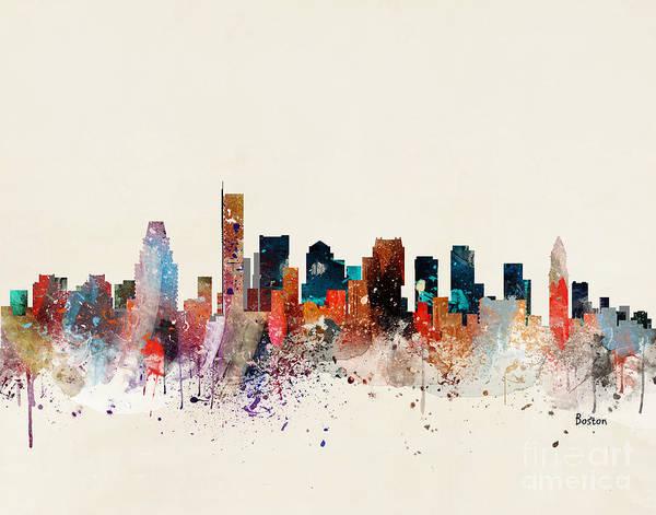 Massachusetts Painting - Boston Skyline by Bri Buckley