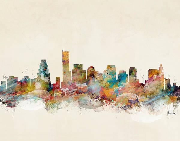 Boston Skyline Wall Art - Painting - Boston City Skyline by Bri Buckley