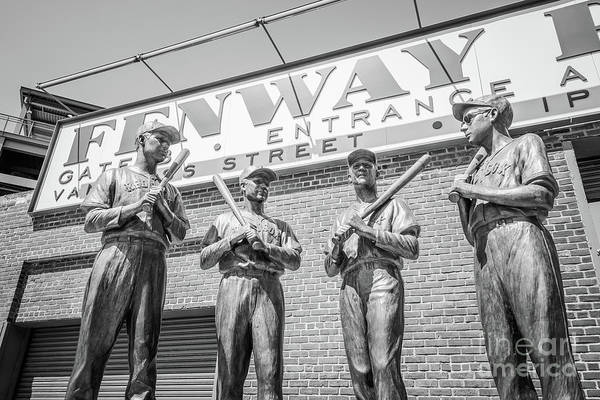 Wall Art - Photograph - Boston Fenway Park Sign And Four Bronze Statues by Paul Velgos