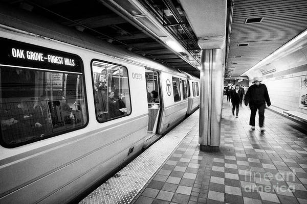Wall Art - Photograph - Boston Mbta Underground Orange Line Train At Downtown Crossing Station Usa by Joe Fox