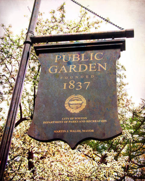 Photograph - Boston Public Garden Sign by Joann Vitali