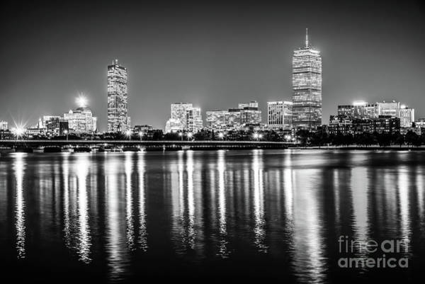 Harvard University Photograph - Boston Skyline At Night Black And White Picture by Paul Velgos