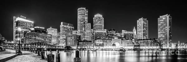 Wall Art - Photograph - Boston Skyline Black And White Panorama Photo by Paul Velgos