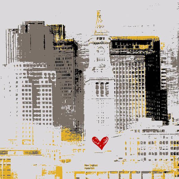 Town Square Digital Art - Boston Skyline 1 by Brandi Fitzgerald
