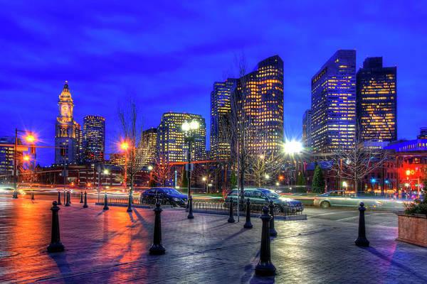 Photograph - Boston Skyline By Night by Joann Vitali