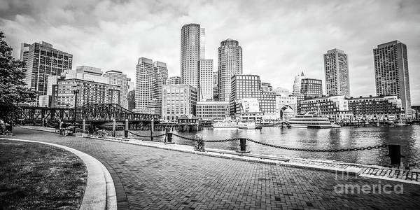 Wall Art - Photograph - Boston Skyline Harborwalk Black And White Picture by Paul Velgos