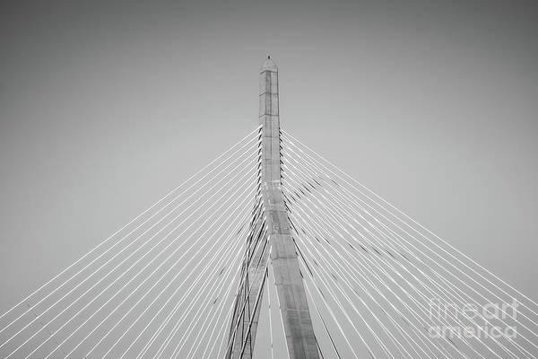 Leonard Photograph - Boston Zakim Bridge Black And White Photo by Paul Velgos