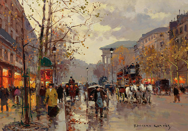 Boulevard Painting - Boulevard De La Madeleine by Edouard Henri Leon Cortes