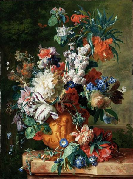 Painting - Bouquet Of Flowers In An Urn by Jan van Huysum