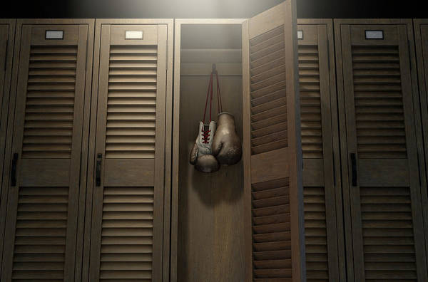 Wall Art - Photograph - Boxing Gloves In Vintage Locker by Allan Swart