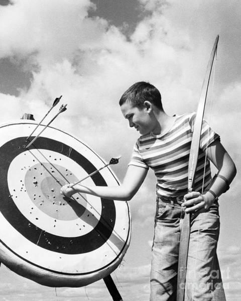 Photograph - Boy Doing Archery by H. Lefebvre/ClassicStock