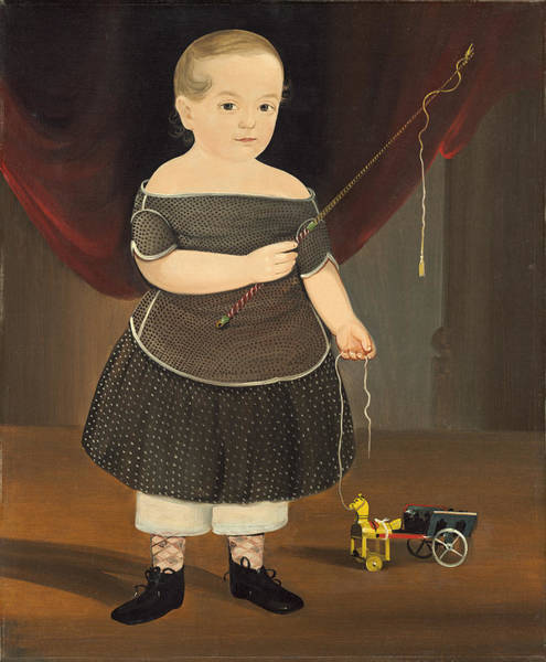 Wall Art - Painting - Boy With Toy Horse And Wagon by William Matthew Prior