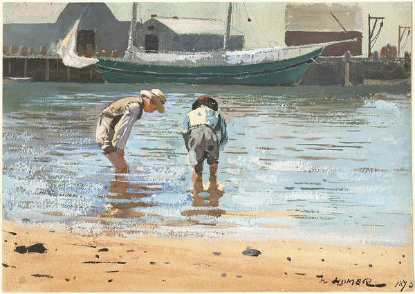 Wall Art - Painting - Boys Wading by Winslow Homer