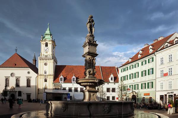 Bratislava Photograph - Bratislava Old Town Hall And Roland Fountain  by Artur Bogacki