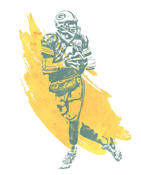 Green Bay Packers Wall Art - Mixed Media - Brett Favre Green Bay Packers Water Color Art 2 by Joe Hamilton