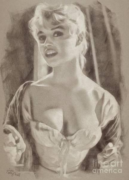 Pinewood Drawing - Brigitte Bardot Hollywood Actress by John Springfield