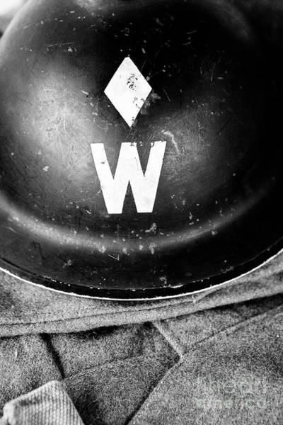 Wall Art - Photograph - British World War Two Air Raid Wardens Helmet Uk by Joe Fox