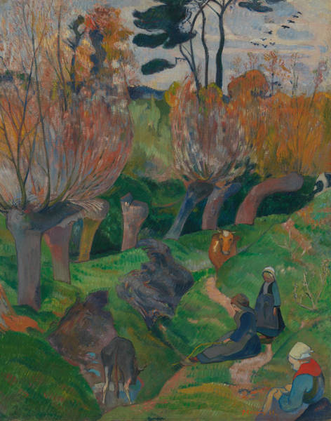 Wall Art - Painting - Brittany Landscape With Cows by Paul Gauguin