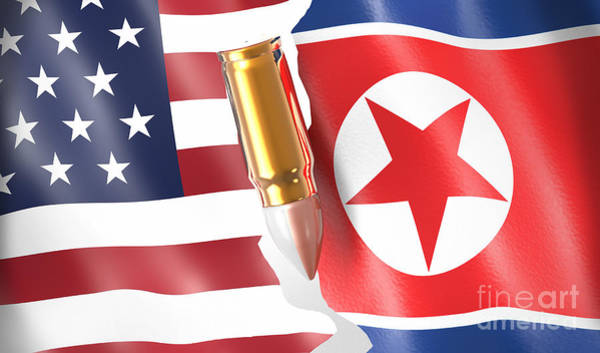 Atomic Weapons Digital Art - broken American and Korean flag and bullet, war between States by Giovanni Cancemi