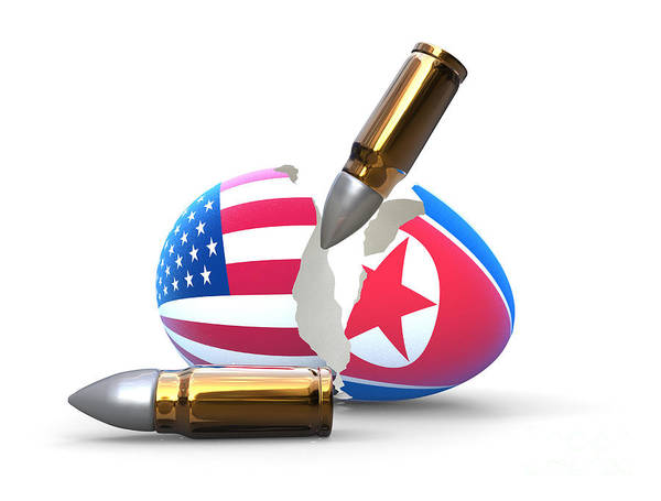 Atomic Weapons Digital Art - Broken Egg, War Between America And North Korea, White Background by Giovanni Cancemi