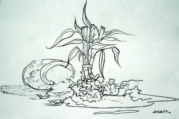 Drawing - Broken Pot Bamboo by Jhiatt