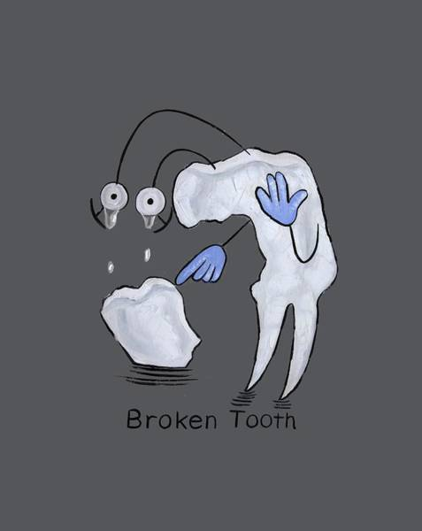T-shirts Painting - Broken Tooth  by Anthony Falbo