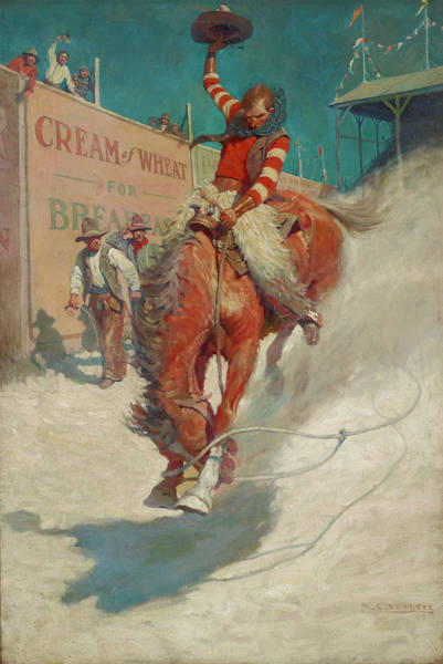 Bronze Painting - The Bronco Buster by Newell Convers Wyeth