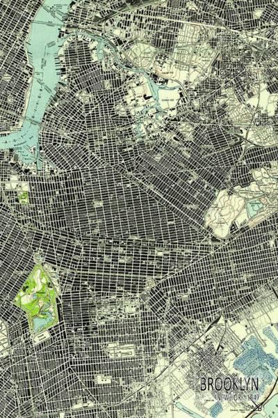 New Trend Digital Art - Brooklyn New York 1947 Old Map by Drawspots Illustrations