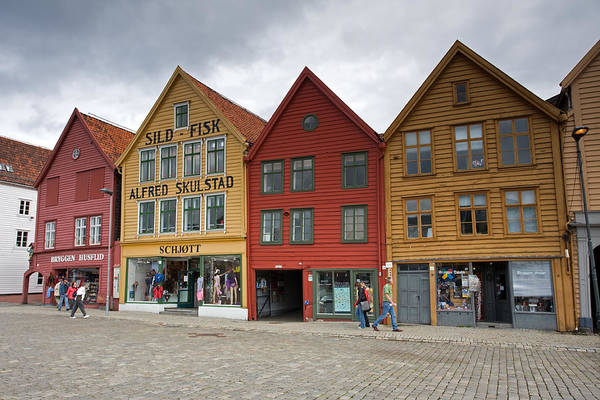 Photograph - Bryggen Waterfront Old Timber Houses by Aivar Mikko